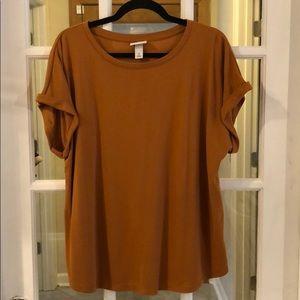 Ava and Viv Short Sleeve Rust Shirt 1X